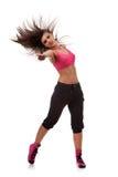 Bailarín de la mujer con un brazo estirado adelante Imagenes de archivo