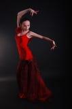 Bailarín de la mujer del flamenco en actitud Imagen de archivo