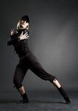 Bailarín de la pasión en ropa negra Fotografía de archivo libre de regalías