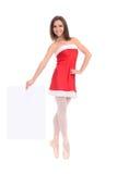 Bailarín de sexo femenino en vestido del Año Nuevo con la bandera Imágenes de archivo libres de regalías