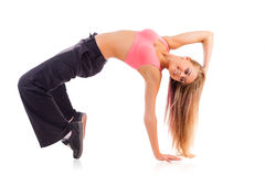Bailarín de sexo femenino joven del breakdance Fotos de archivo