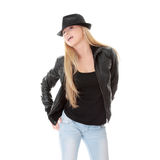 Bailarín de sexo femenino joven en sombrero negro Foto de archivo libre de regalías