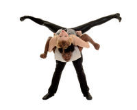 Bailarín de sexo masculino y de sexo femenino que realiza la elevación de la danza del jazz Imagenes de archivo