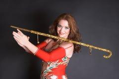 Bailarín de vientre con el bastón Fotos de archivo