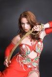 Bailarín de vientre con la espada Imagen de archivo