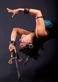 Bailarín de vientre con la espada fotografía de archivo libre de regalías