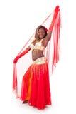 Bailarín de vientre del African-american que presenta con velo fotos de archivo