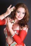 Bailarín de vientre en rojo Foto de archivo