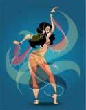 Bailarín de vientre exótico stock de ilustración