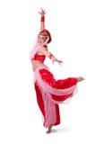 Bailarín de vientre retro que hace un arabesque imagen de archivo libre de regalías
