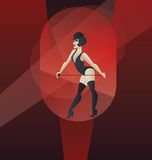 Bailarín del burlesque del cabaret del diseño del cartel de Art Deco ilustración del vector