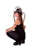 Bailarín del cabaret que presenta con la silla fotografía de archivo