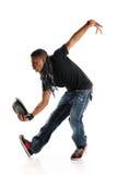 Bailarín del estilo de Hip Hop con el sombrero en su mano Foto de archivo libre de regalías