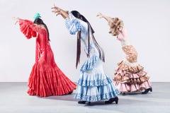 Bailarín del flamenco de bastante tres jóvenes en vestido hermoso foto de archivo