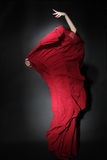 Bailarín del flamenco en alineada roja Baile de la mujer Foto de archivo