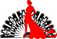 Bailarín del flamenco en un fondo negro de la fan Foto de archivo libre de regalías
