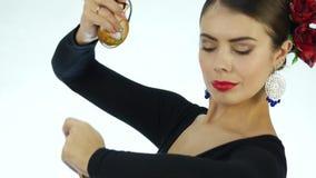 Bailarín del flamenco del primer en un fondo ligero 4K metrajes