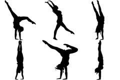 Bailarín del gimnasta de la silueta Foto de archivo libre de regalías
