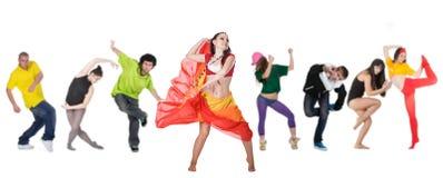 Bailarín del grupo con el arranque de cinta Foto de archivo