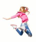 Bailarín del hip-hop que salta arriba en el aire Fotos de archivo