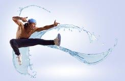 Bailarín, en un fondo abstracto. collage Fotos de archivo