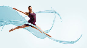 Bailarín, en un fondo abstracto. collage Imagen de archivo libre de regalías