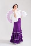 Bailarín español de sexo femenino del flamenco Imagenes de archivo