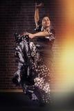 Bailarín feliz del flamenco en el movimiento con el vestido hermoso Foto de archivo libre de regalías