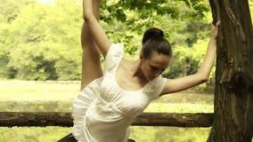 Bailarín hermoso que hace entrenamiento al aire libre almacen de metraje de vídeo
