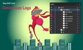 Bailarín Icon Logo ilustración del vector