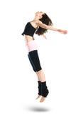 Bailarín joven de salto aislado en blanco Foto de archivo