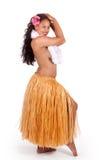Bailarín joven del hula que mira sobre su hombro imagenes de archivo