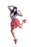 Bailarín moderno de la muchacha del estilo que presenta en fondo blanco aislado Imagen de archivo libre de regalías