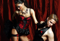 Bailarín Moulin Rouge de los pares Fotografía de archivo