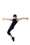 Bailarín muscular en blanco fotos de archivo