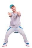 Bailarín que señala con ambas manos Imágenes de archivo libres de regalías