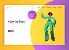 Bailarín retro Character Website Template del disco Forma de vida de baile de la mujer Concepto del acontecimiento de la vida noc stock de ilustración