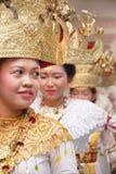 Bailarín tradicional indonesio de Lampung Foto de archivo