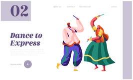 Bailarín Woman Dancing en la página nacional del aterrizaje de la ceremonia Funcionamiento asiático de la danza en festival indio stock de ilustración