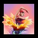 Bailarín y flor de ballet stock de ilustración