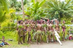 Bailarín y músicos Solomon Islands entre la vegetación tropical imagen de archivo