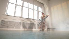 Bailar?n de ballet de sexo femenino con la tela que fluye blanca Formas y movimiento, cámara lenta del flujo metrajes