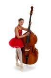 Bailarina adolescente con el bajo de pie doble Foto de archivo libre de regalías