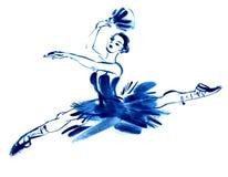 Bailarina azul, gouache desenhando ilustração do vetor