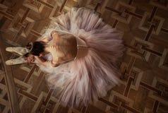 Bailarina bonita que senta-se no assoalho em um vestido cor-de-rosa fotos de stock