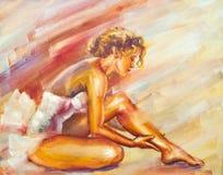 Bailarina de assento bonita Fotografia de Stock Royalty Free