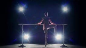 Bailarina de la elegancia cerca de la barra Humo lento metrajes
