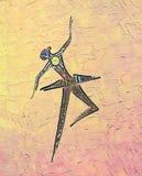 Bailarina del baile Dibujo y pintura al óleo de la tinta stock de ilustración
