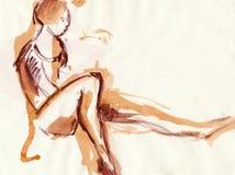 Bailarina, desenhando Imagem de Stock