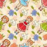Bailarina e flor pequenas Estilo dos desenhos animados Teste padrão sem emenda Boneca ilustração stock